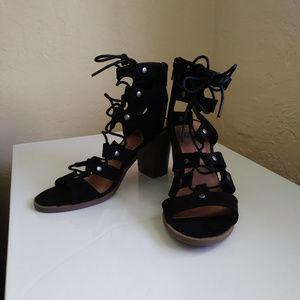 dv Black Gladiator Cage Strappy Sandal Heels NWOT